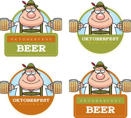 hombre caricatura: Un ejemplo de la historieta de un hombre borracho en un Oktoberfest gráfico temático.