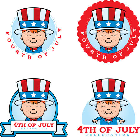 A cartoon illustration of a patriotic boy in a 4th of July themed graphic.