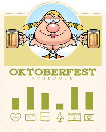 drunk cartoon: A cartoon illustration of a drunk woman in an Oktoberfest themed graphic.