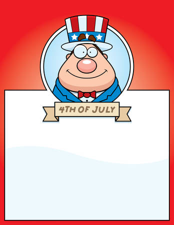 A cartoon illustration of a patriotic man in a 4th of July themed graphic.