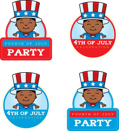 A cartoon illustration of a patriotic boy in a 4th of July themed graphic. 版權商用圖片 - 50550933