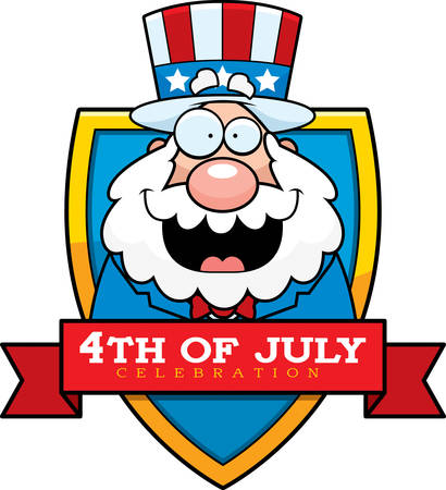 A cartoon illustration of a patriotic man in a 4th of July themed graphic. 版權商用圖片 - 50551096