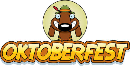 A cartoon illustration of a dog in an Oktoberfest themed graphic.