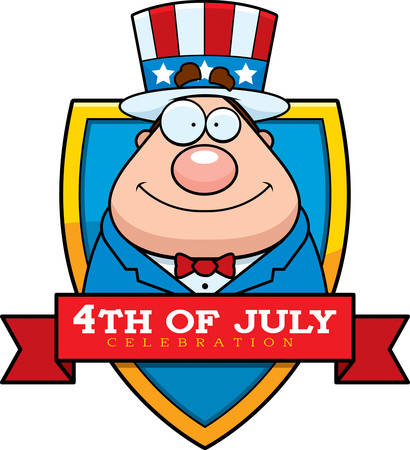 sam: A cartoon illustration of a patriotic man in a 4th of July themed graphic.