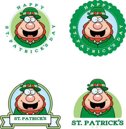 patrick's: A cartoon illustration of a leprechaun in a St. Patricks Day themed graphic. Illustration