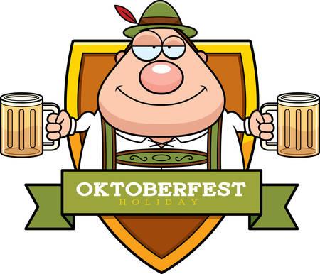 A cartoon illustration of a drunk man in an Oktoberfest themed graphic.