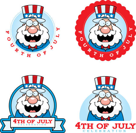 A cartoon illustration of a patriotic man in a 4th of July themed graphic. 版權商用圖片 - 50552124