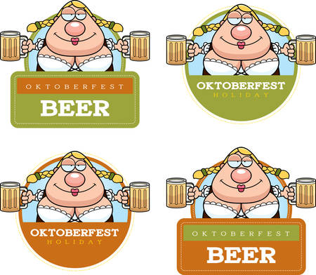 A cartoon illustration of a drunk woman in an Oktoberfest themed graphic.