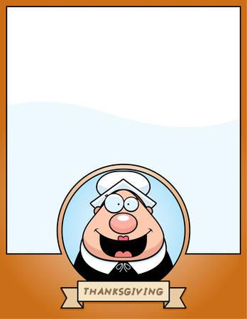 Een cartoon illustratie van een Thanksgiving grafisch met een Pelgrim. Stock Illustratie