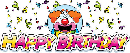 A cartoon illustration of a clown with a birthday themed graphic.