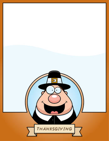 A cartoon illustration of a Thanksgiving graphic with a Pilgrim.