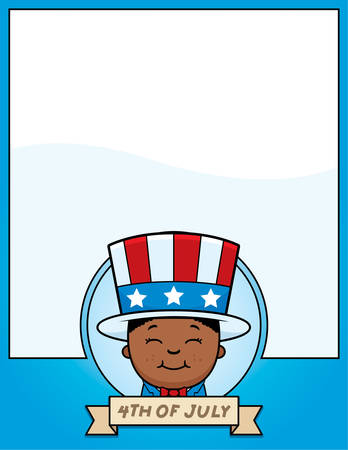 A cartoon illustration of a patriotic boy in a 4th of July themed graphic. 版權商用圖片 - 50552360