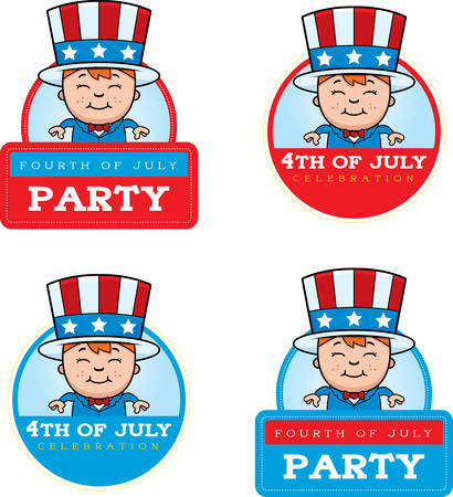 sam: A cartoon illustration of a patriotic boy in a 4th of July themed graphic.