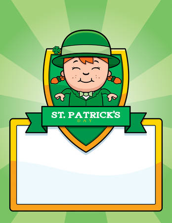 leprechaun girl: A cartoon illustration of a leprechaun girl in a St. Patricks Day themed graphic. Illustration
