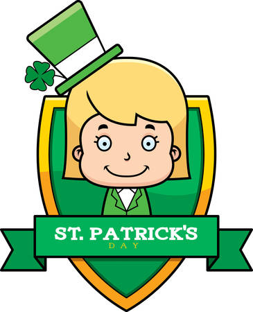 patrick's: A cartoon illustration of a leprechaun girl in a St. Patricks Day themed graphic. Illustration