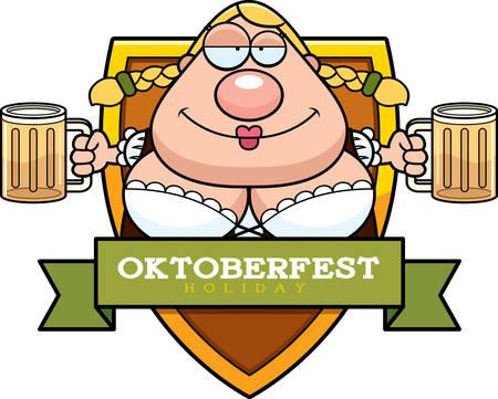 drunk woman: A cartoon illustration of a drunk woman in an Oktoberfest themed graphic.