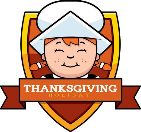 Een cartoon illustratie van een Thanksgiving grafisch met een meisje van de Pelgrim. Stock Illustratie