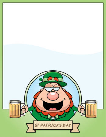drunk cartoon: A cartoon illustration of a drunk leprechaun in a St. Patricks Day themed graphic. Illustration