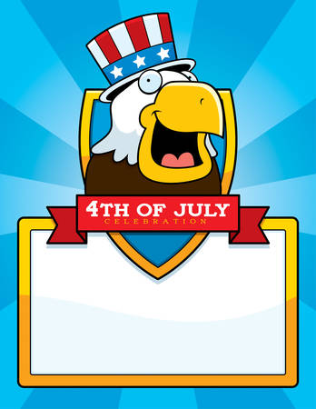 A cartoon illustration of a patriotic bald eagle in a 4th of July themed graphic. Illustration