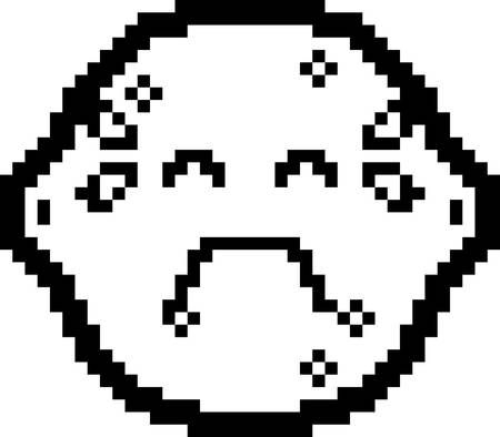 An illustration of a lemon crying in an 8-bit cartoon style.
