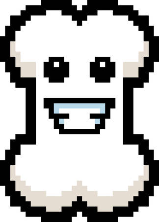 8bit: An illustration of a bone smiling in an 8-bit cartoon style.