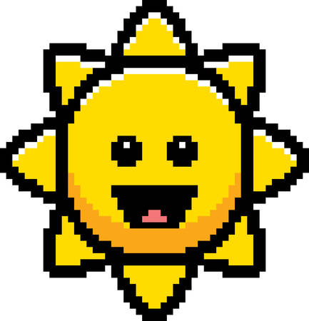 An illustration of the sun smiling in an 8-bit cartoon style. Ilustrace