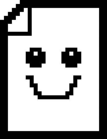 piece of paper: An illustration of a piece of paper smiling in an 8-bit cartoon style. Illustration