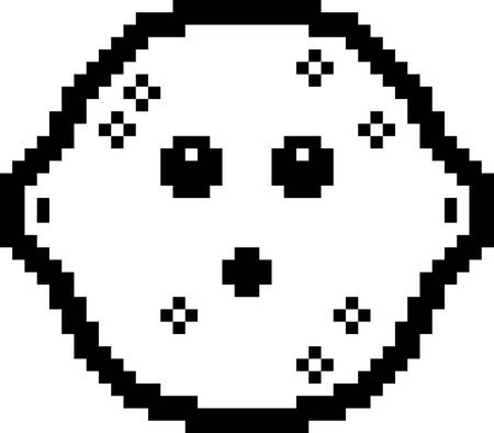 An illustration of a lemon looking surprised in an 8-bit cartoon style. Ilustrace