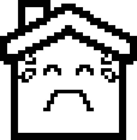 house clip art: An illustration of a house crying in an 8-bit cartoon style. Illustration