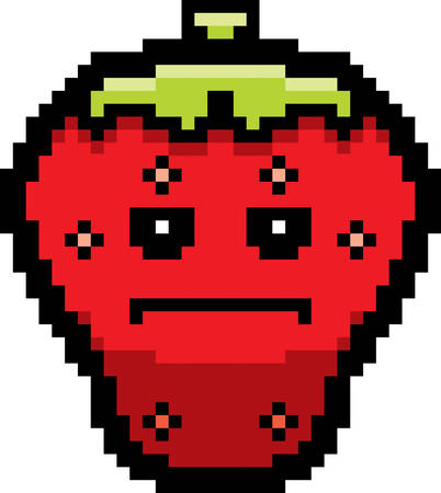 serious: An illustration of a strawberry looking serious in an 8-bit cartoon style. Illustration