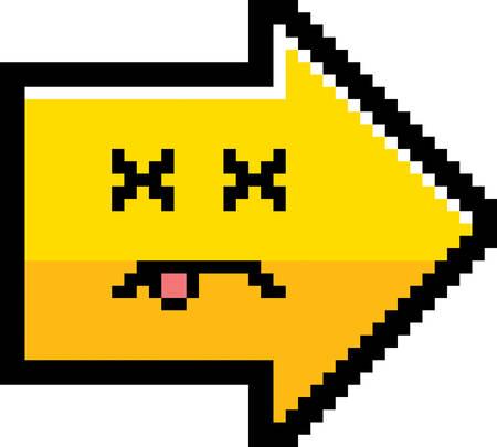 8bit: An illustration of an arrow looking dead in an 8-bit cartoon style.