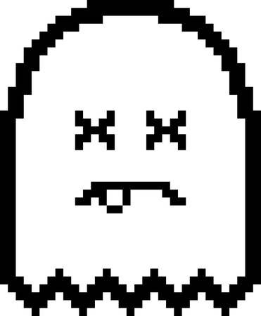 An illustration of a ghost looking dead in an 8-bit cartoon style.