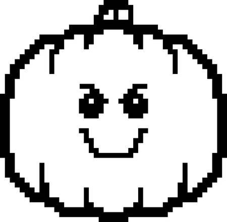 calabaza caricatura: An illustration of a pumpkin looking evil in an 8-bit cartoon style.