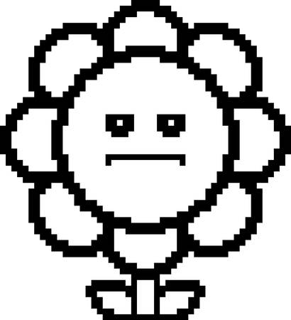 flower illustration: An illustration of a flower looking serious in an 8-bit cartoon style.