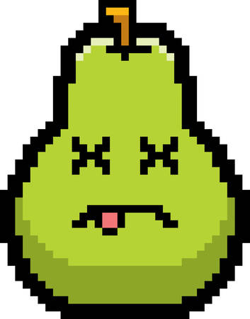 unconscious: An illustration of a pear looking dead in an 8-bit cartoon style.