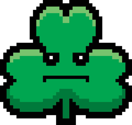 cartoon shamrock: An illustration of a shamrock looking serious in an 8-bit cartoon style.