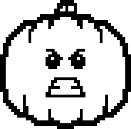 An illustration of a pumpkin looking angry in an 8-bit cartoon style.