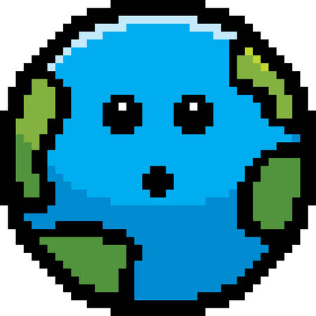 An illustration of a planet earth looking surprised in an 8-bit cartoon style.