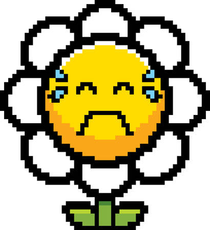 An illustration of a flower crying in an 8-bit cartoon style.