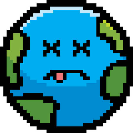 unconscious: An illustration of a planet earth looking dead in an 8-bit cartoon style.