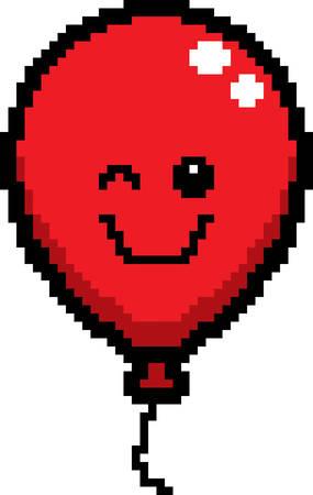 An illustration of a balloon winking in an 8-bit cartoon style. Ilustrace