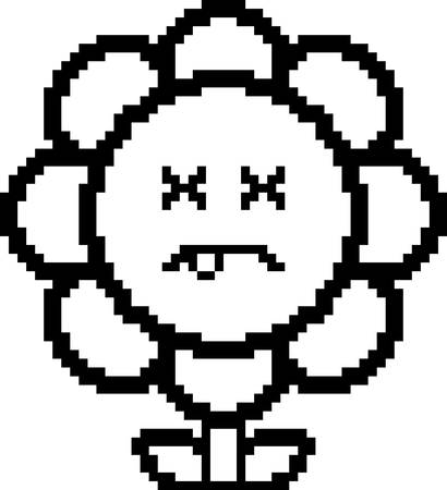 flower illustration: An illustration of a flower looking dead in an 8-bit cartoon style.