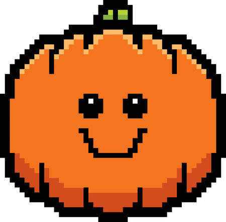 calabaza caricatura: An illustration of a pumpkin smiling in an 8-bit cartoon style. Vectores