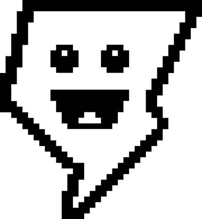 An illustration of a lightning bolt smiling in an 8-bit cartoon style. Ilustrace