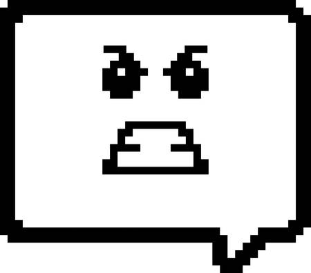 An illustration of a word balloon looking angry in an 8-bit cartoon style. Ilustrace