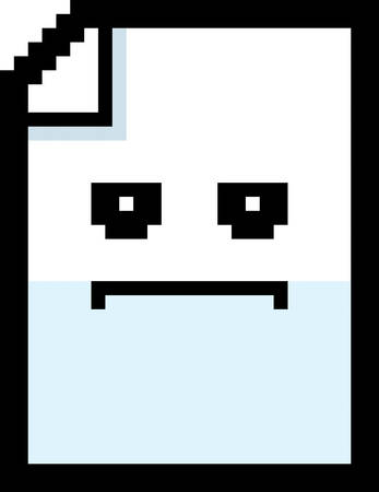 8bit: An illustration of a piece of paper looking serious in an 8-bit cartoon style. Illustration