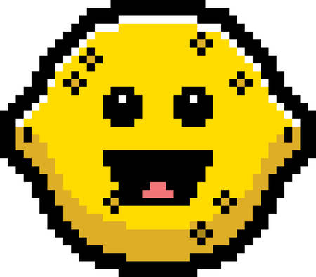 limon caricatura: An illustration of a lemon smiling in an 8-bit cartoon style.