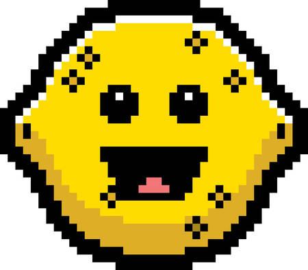 limon caricatura: Una ilustraci�n de un lim�n sonriente en un estilo de dibujos animados de 8 bits.