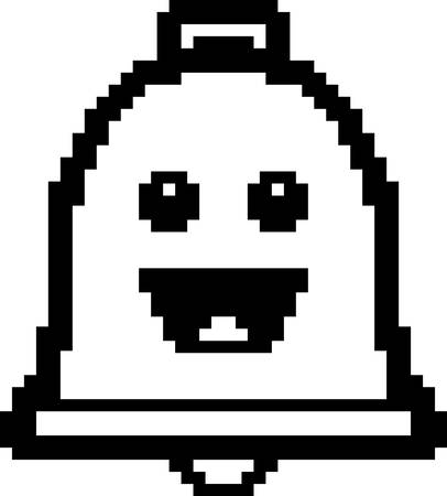 An illustration of a bell smiling in an 8-bit cartoon style.