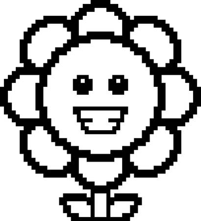 graphic art: An illustration of a flower smiling in an 8-bit cartoon style. Illustration